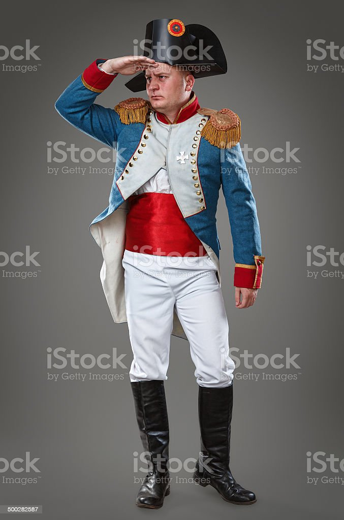 Actor dressed as Napoleon stock photo