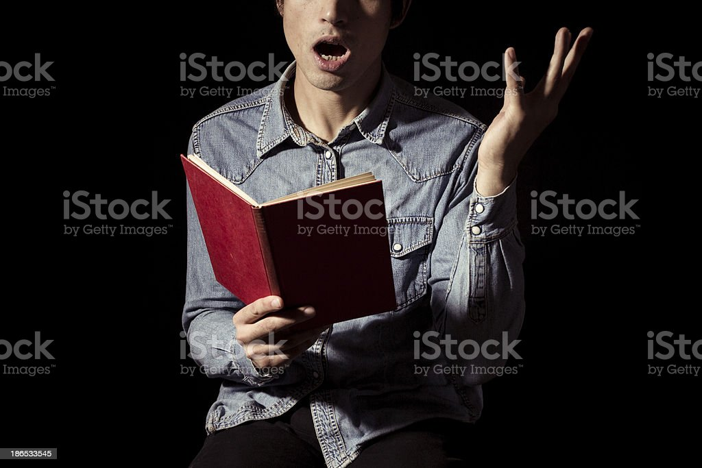 Actor preparing lines stock photo