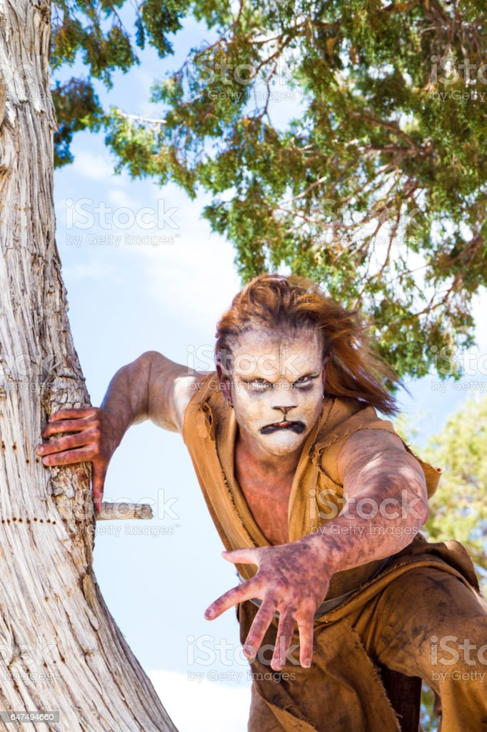 Actor Wearing Lion Makeup Posing The Desert Stock Photo Download Image Now Istock