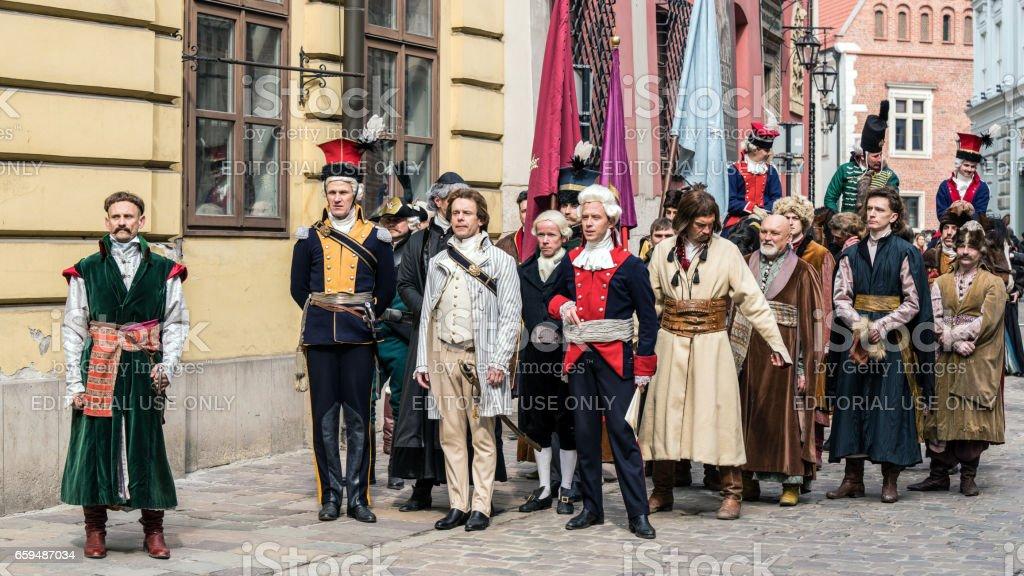 Actors and extras perform Tadeusz Kosciuszko's vow stock photo