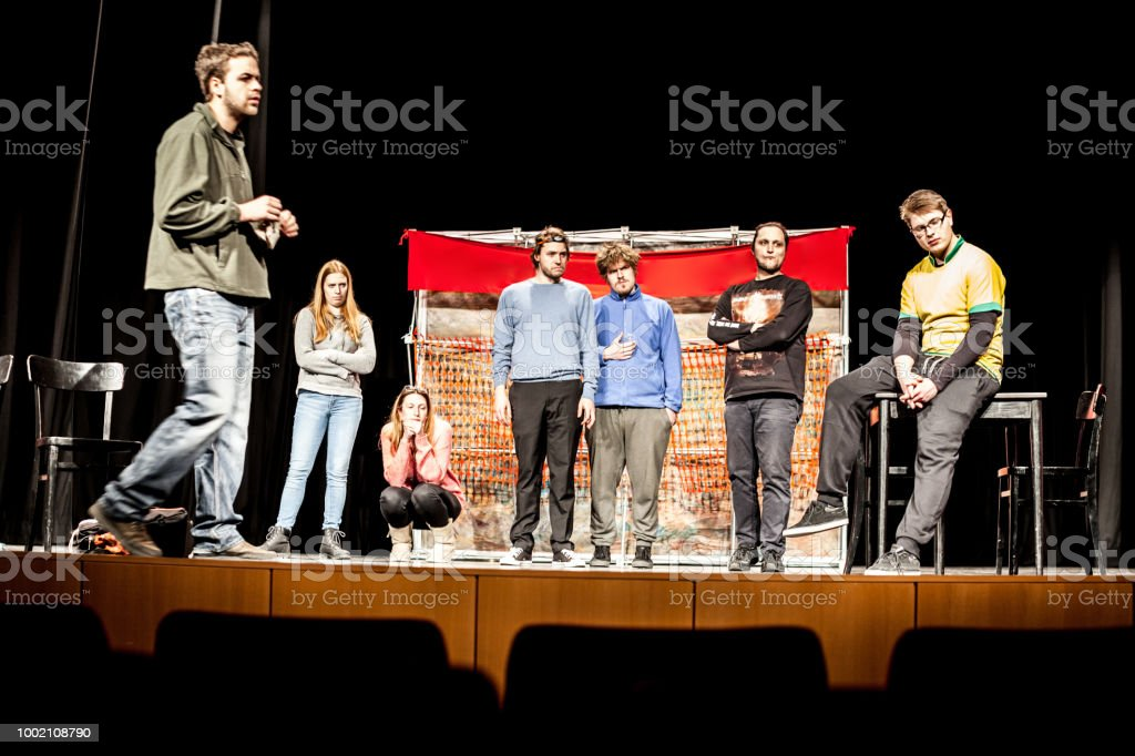 Actors at Theatrical Performance Rehearsal.