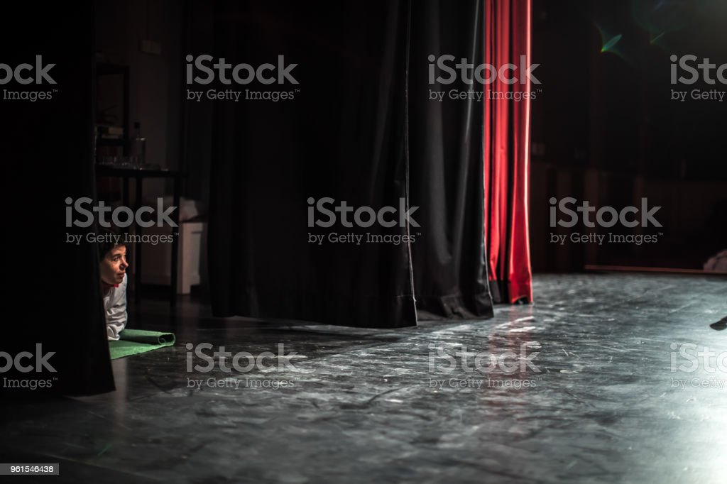 Actors From Backstage Preparing For Rehearsal stock photo