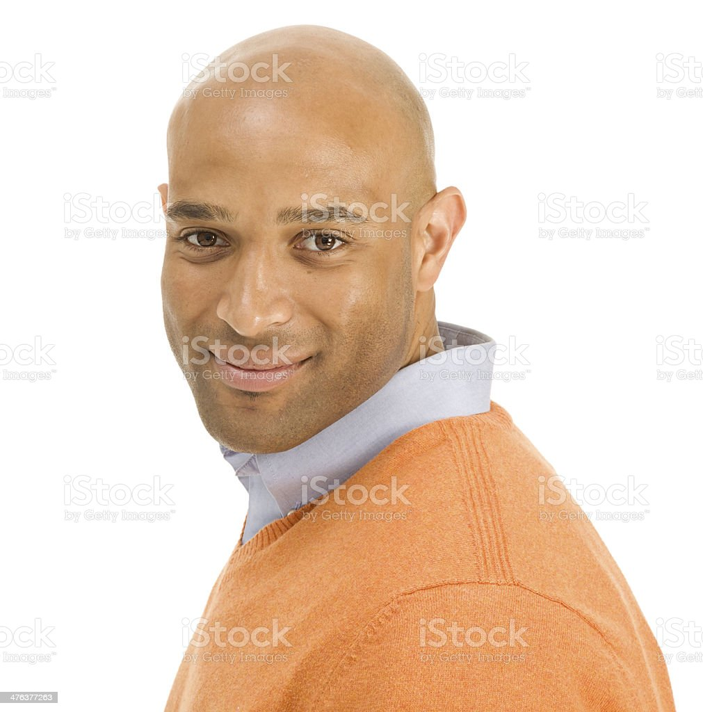 Actractive Adult African American Man Isolated white looking at camera stock photo
