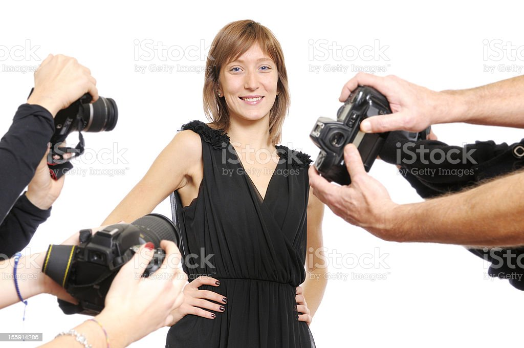 Actress and Group of Photographers royalty-free stock photo