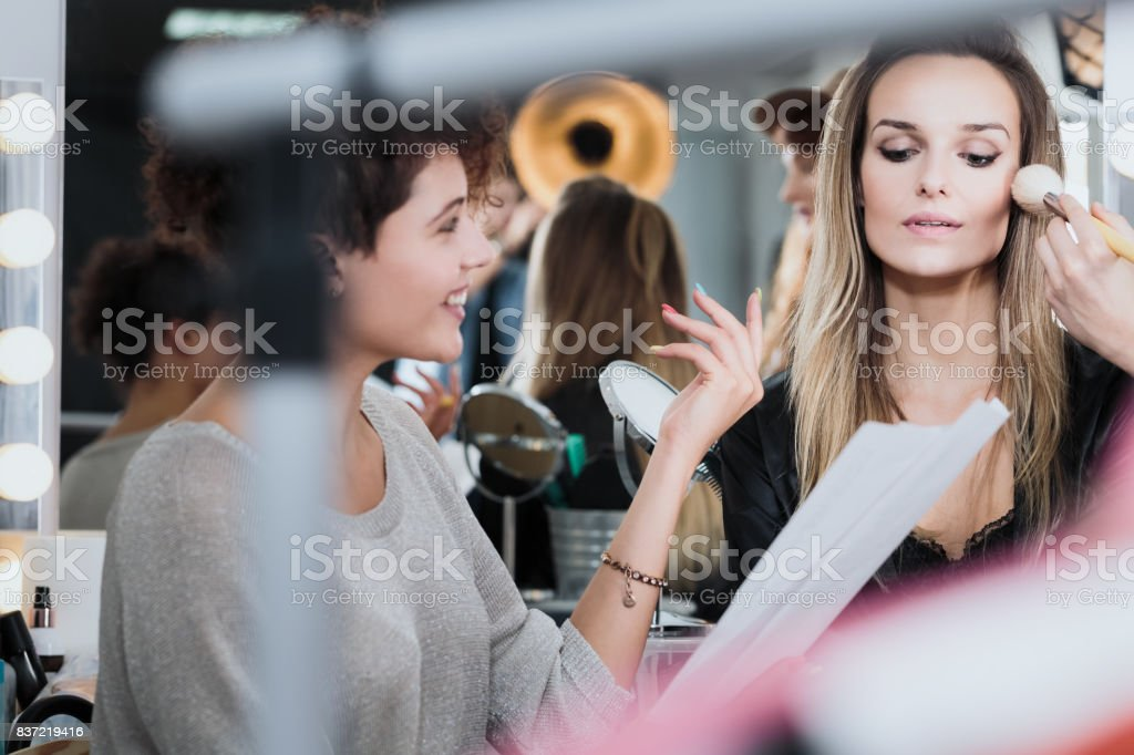 Actress at the movie backstage stock photo