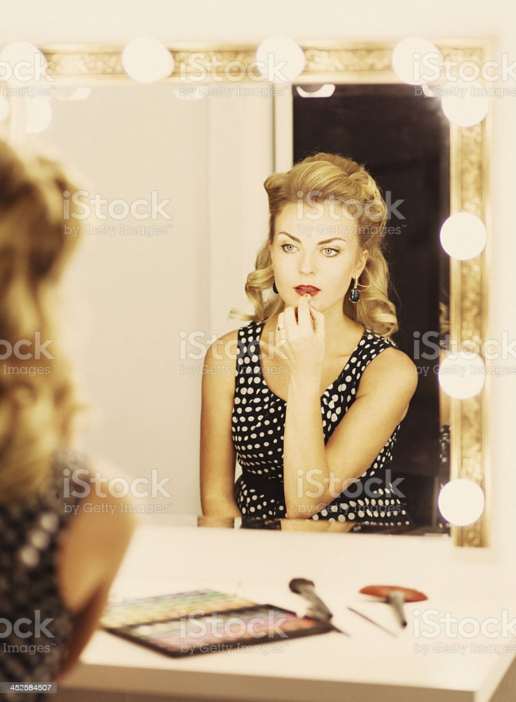 actress in backstage stock photo