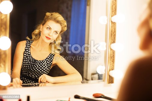 young actress applying makeup in backstage