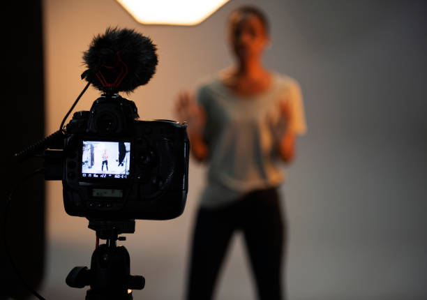 Actress in front of the camera in an audition stock photo