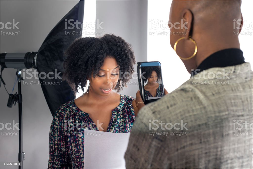Actress Self Tape Audition via Cell Phone stock photo