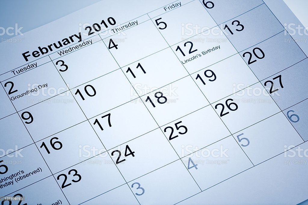 Actual calendar of february 2010 royalty-free stock photo