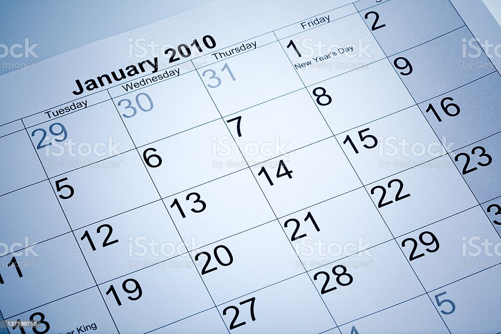 Actual calendar of january 2010 royalty-free stock photo