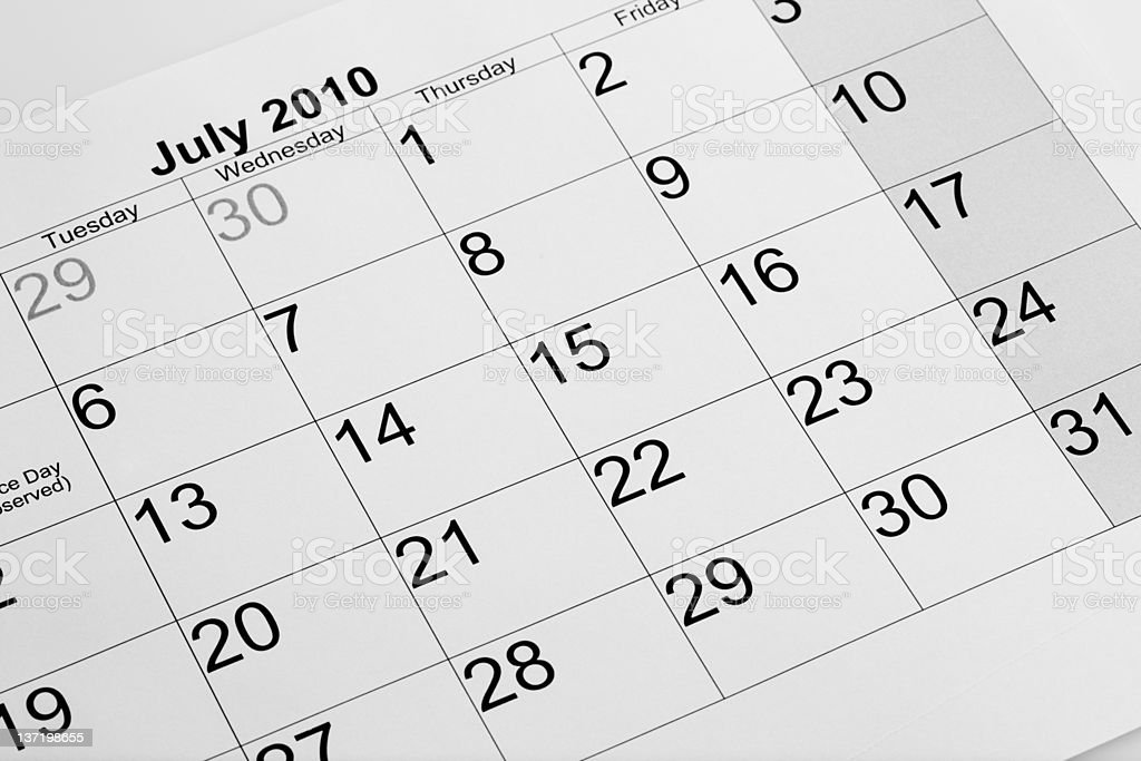 Actual calendar of July 2010 royalty-free stock photo