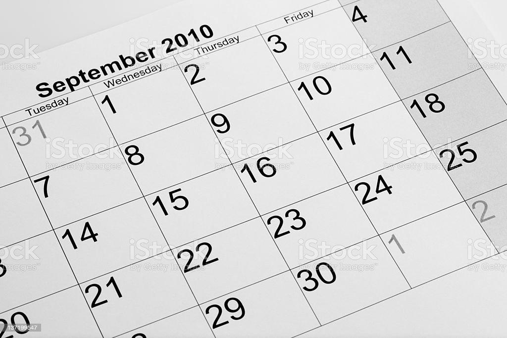 Actual calendar of September 2010 royalty-free stock photo