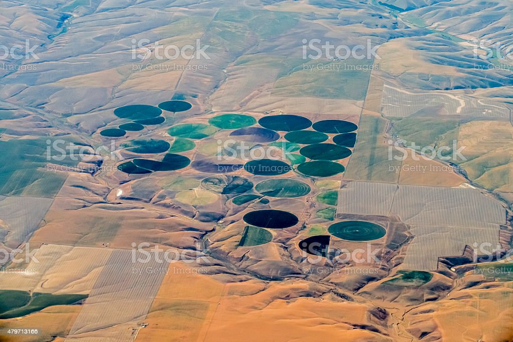 Actual Crop Circles; Round Irrigated Fields in American West stock photo