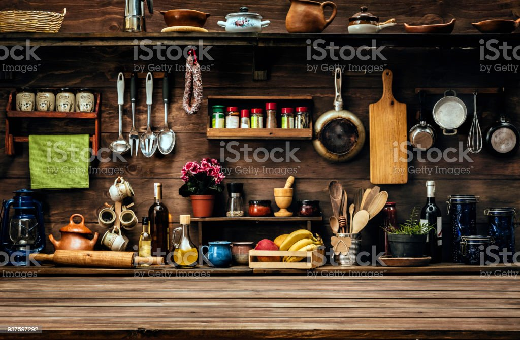 actual rustic kitchen with utensils for cooking table at