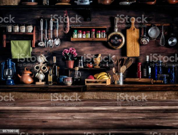 Actual rustic kitchen with utensils for cooking table at the with picture id937599146?b=1&k=6&m=937599146&s=612x612&h=l6rtx6   l3u7txoqp1of74a0mrzmverkpwmibxyvya=