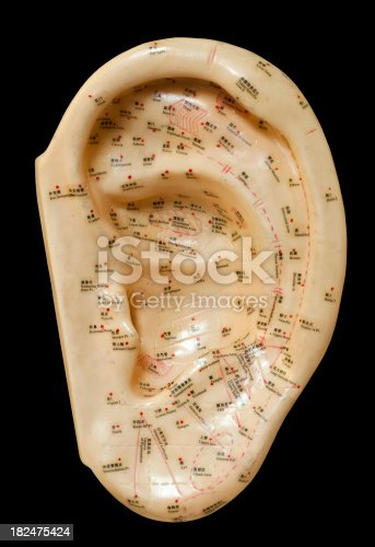Well used acupuncture ear model isolated on black.Click below for more in this series plus my other acupuncture images: