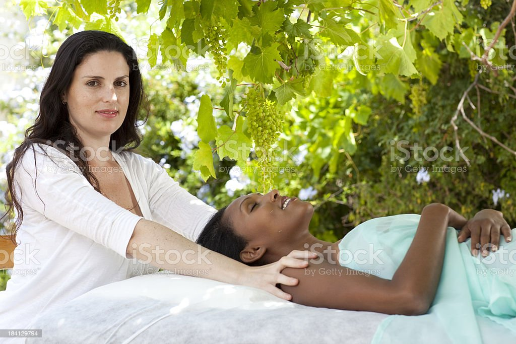 Acupuncture healing technique and Spa massage. stock photo