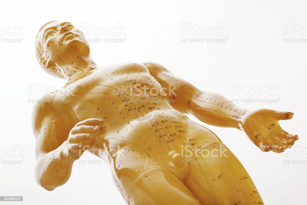 Acupuncture male model stock photo