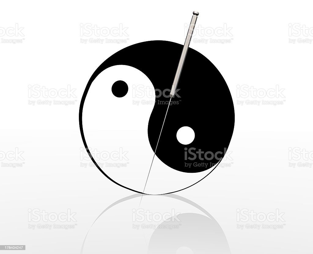 acupuncture needle and yin yang sign royalty-free stock photo