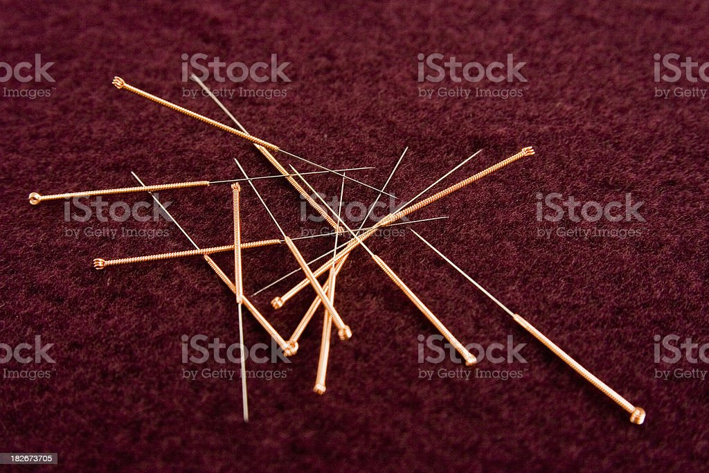 Acupuncture needles royalty-free stock photo