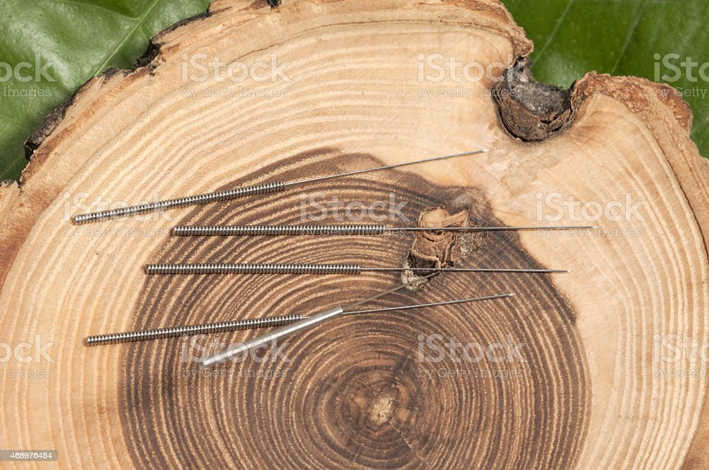 Acupuncture needles placed against a cut tree trunk stock photo