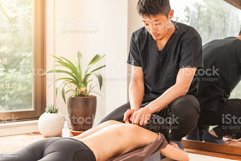 Acupuncture session stock photo