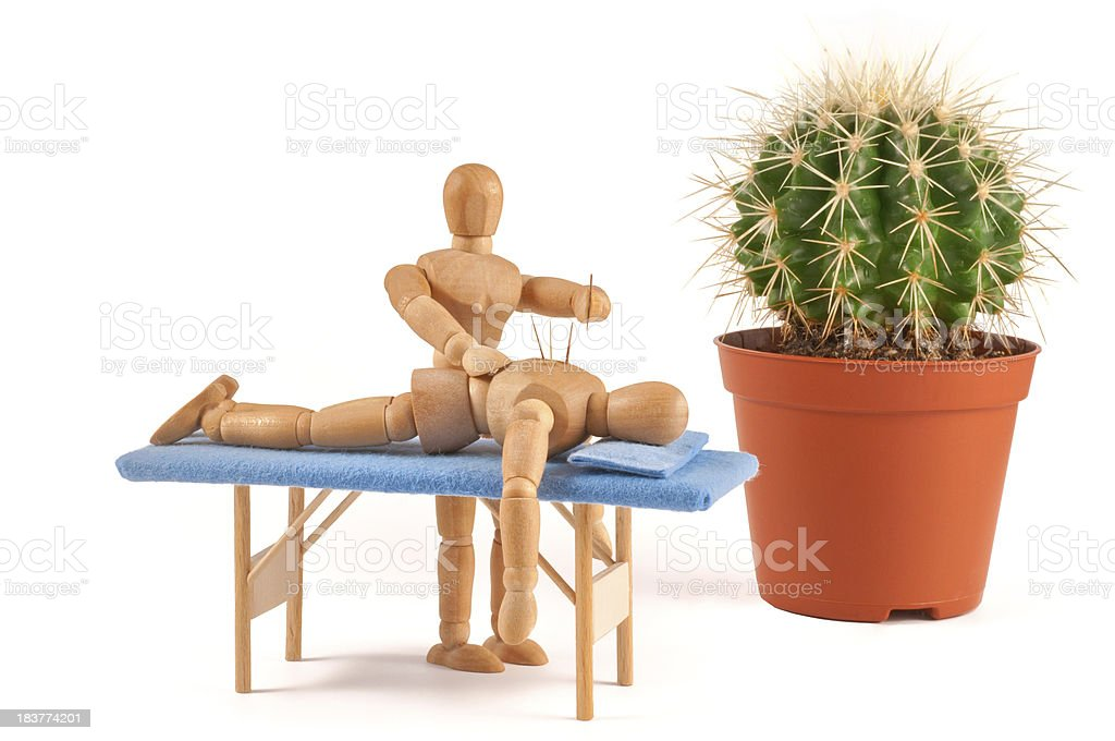 Acupuncture - wooden mannequin with special needles royalty-free stock photo