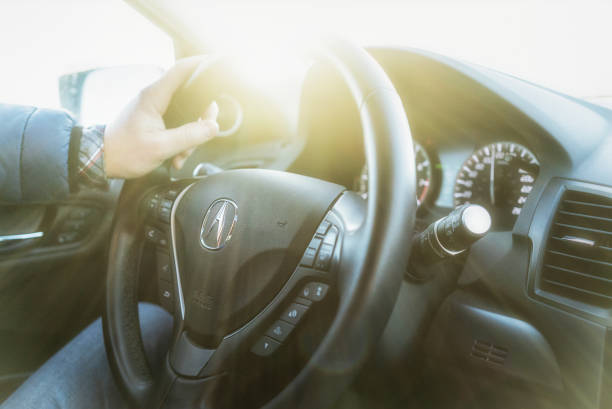 Acura car steering wheel stock photo