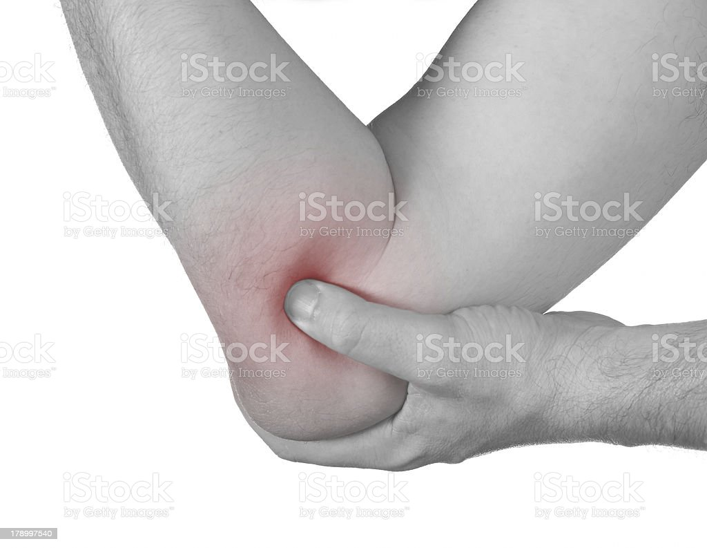 Acute pain in a man elbow. royalty-free stock photo