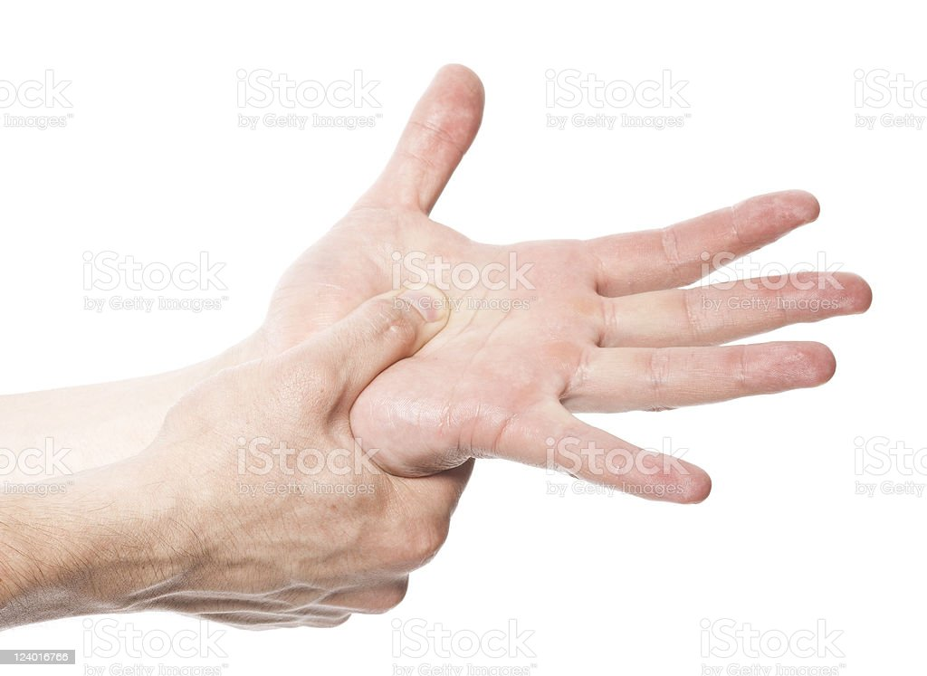 Acute pain in a man hand royalty-free stock photo