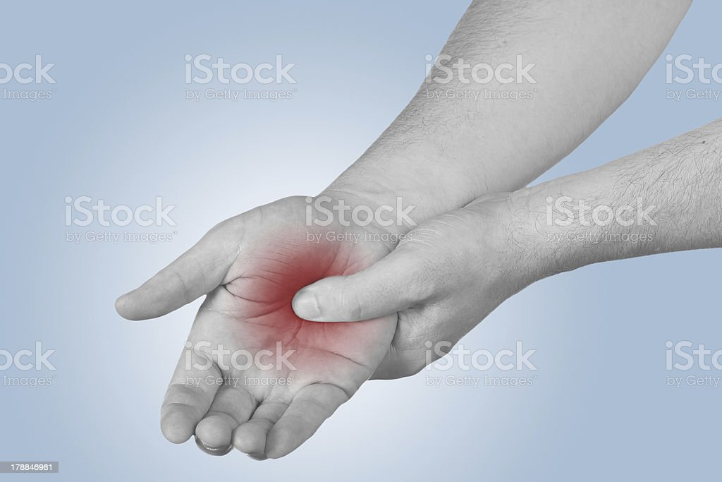 Acute pain in a man palm. royalty-free stock photo