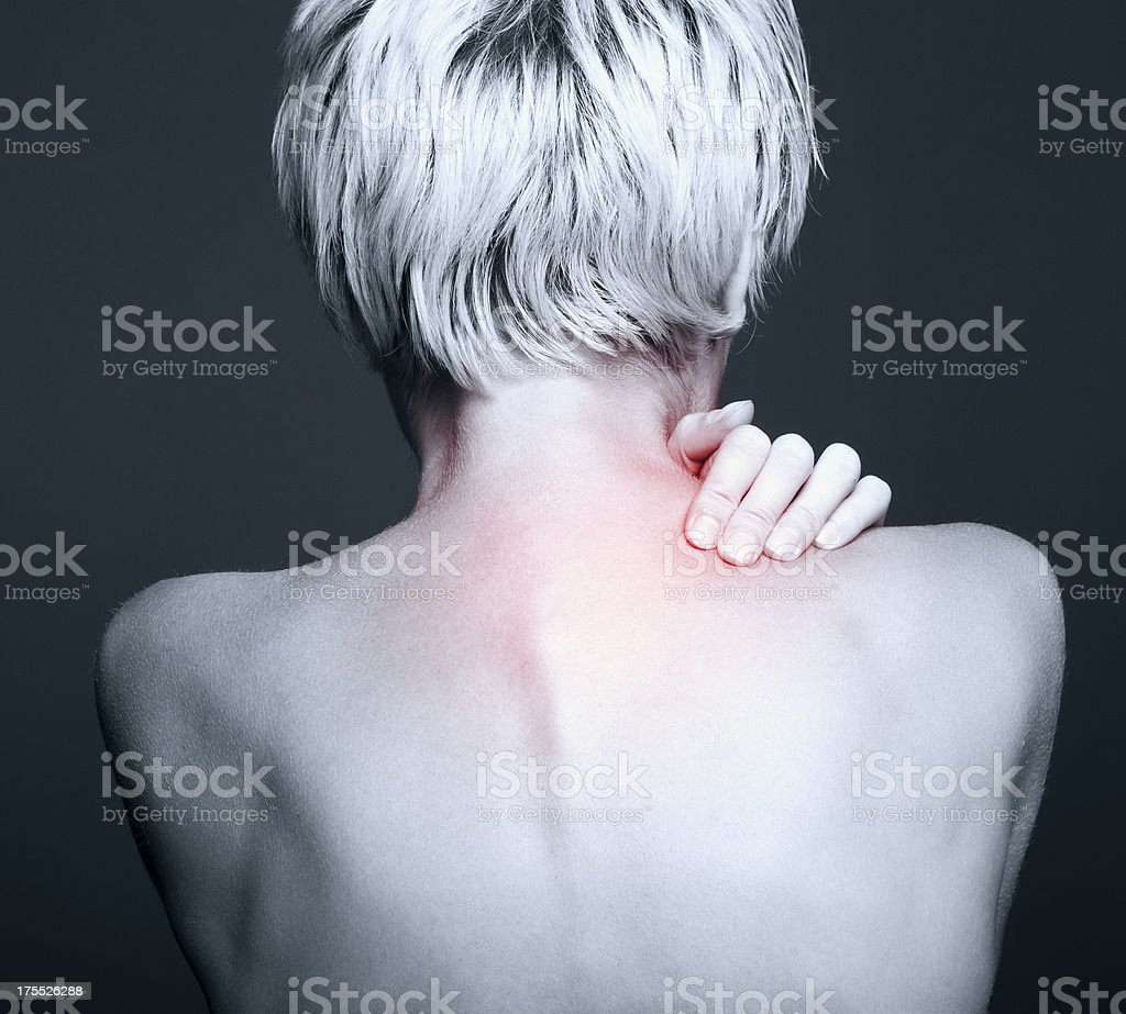 Acute pain in a neck at the young women. young girl keeps for a sick...