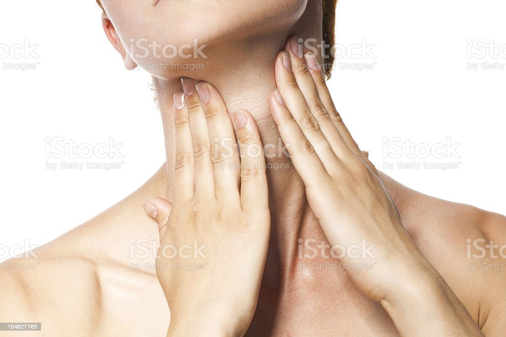 Acute pain in a throat at the young women. stock photo