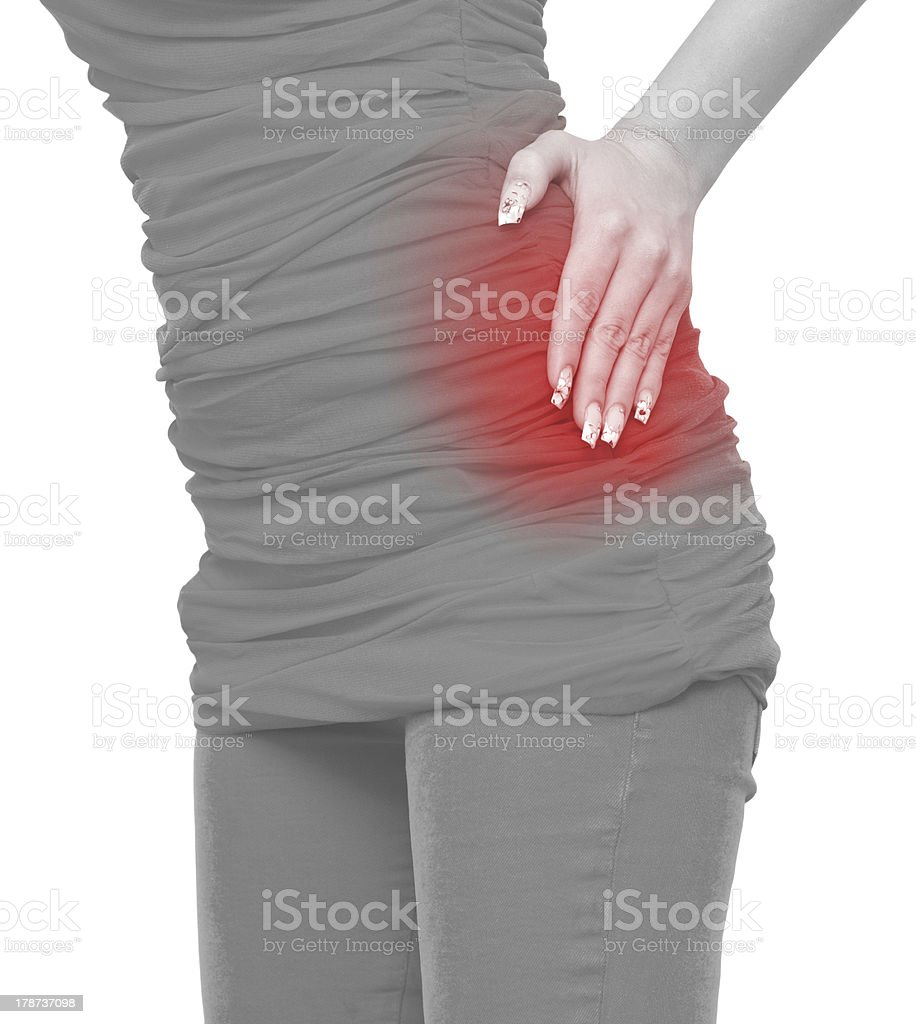 Acute pain in a woman abdomen royalty-free stock photo