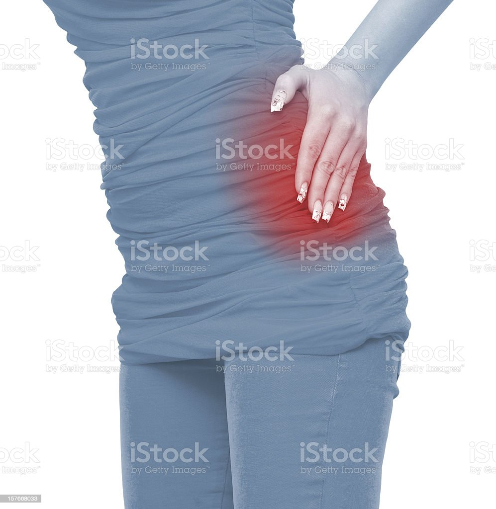 Acute pain in a woman belly royalty-free stock photo