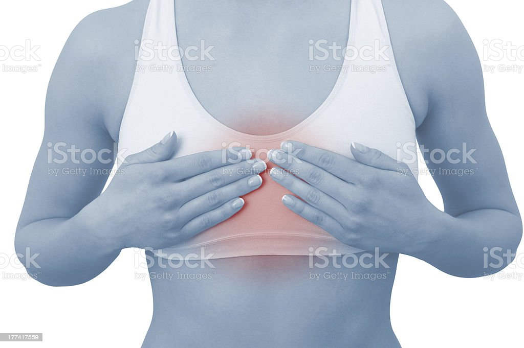 Acute pain in a woman chest royalty-free stock photo