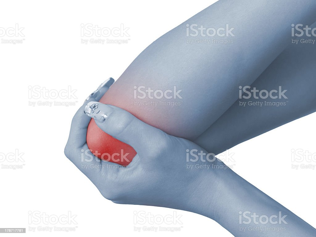 Acute pain in a woman elbow royalty-free stock photo