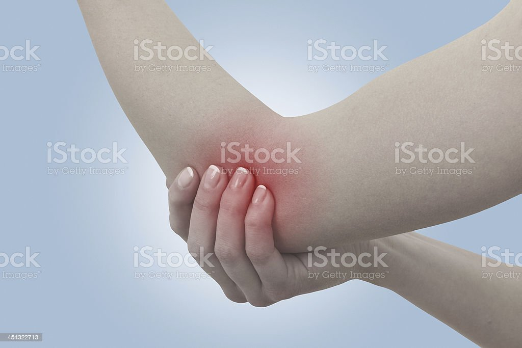 Acute pain in a woman elbow. royalty-free stock photo
