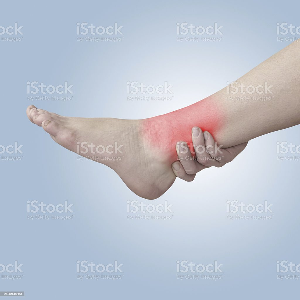 Acute pain in ankle. royalty-free stock photo