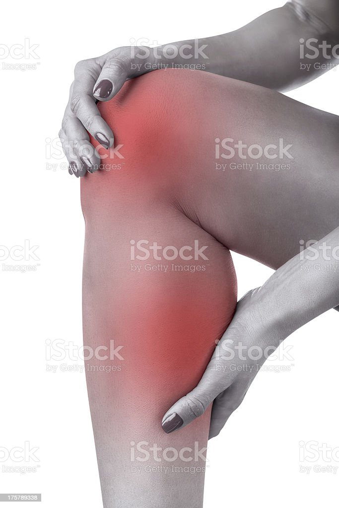 Acute pain in knee royalty-free stock photo