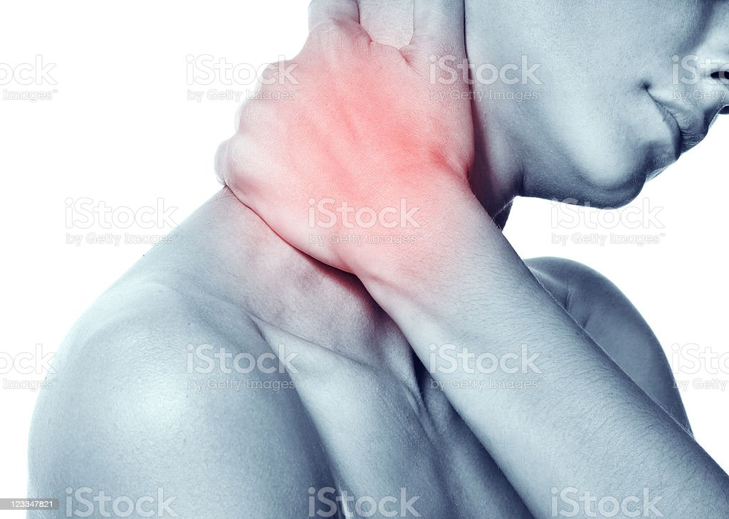Acute pain in the neck of a young woman royalty-free stock photo