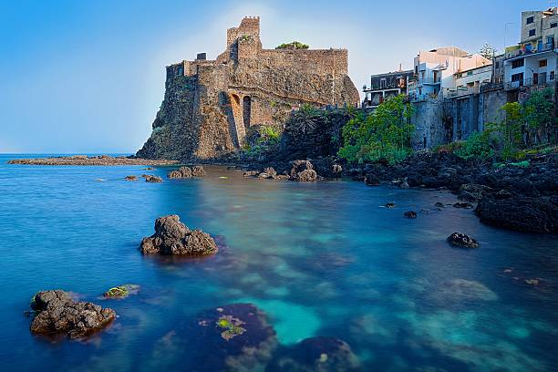 Acicastello A beautiful view of Acicastello Sicily ... (Italy) catania stock pictures, royalty-free photos & images