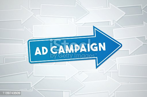 1140385944 istock photo Ad Campaign Text Concept On Blue Directional Sign 1159743509