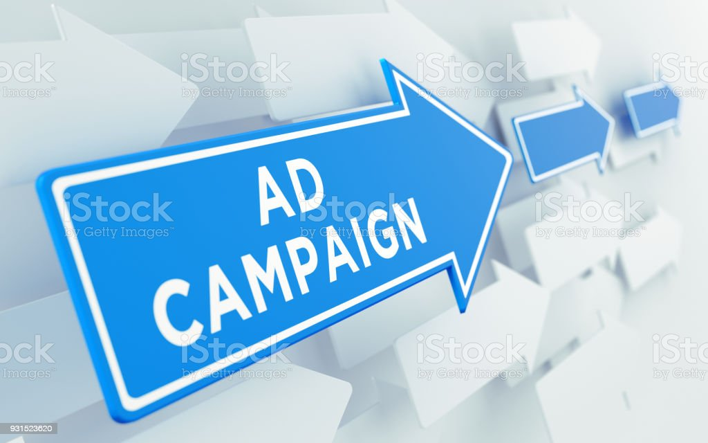 Blue arrow shaped directional sign over white arrows. Ad campaign...