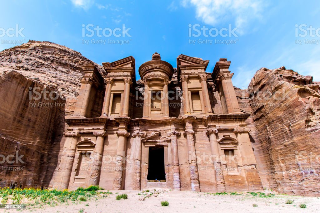 'Ad Deir' The Monastery, in the ancient Jordanian city of Petra. royalty-free stock photo