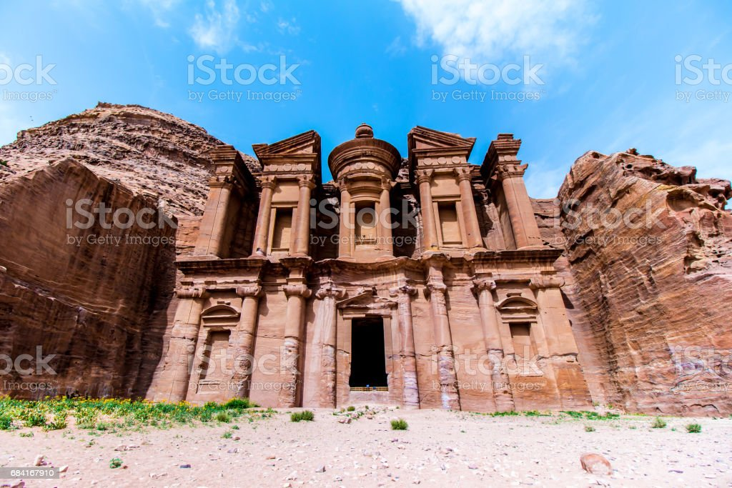 'Ad Deir' The Monastery, in the ancient Jordanian city of Petra zbiór zdjęć royalty-free