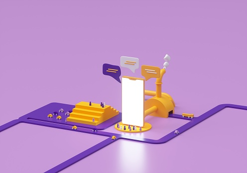 3d concept of an advertising factory.