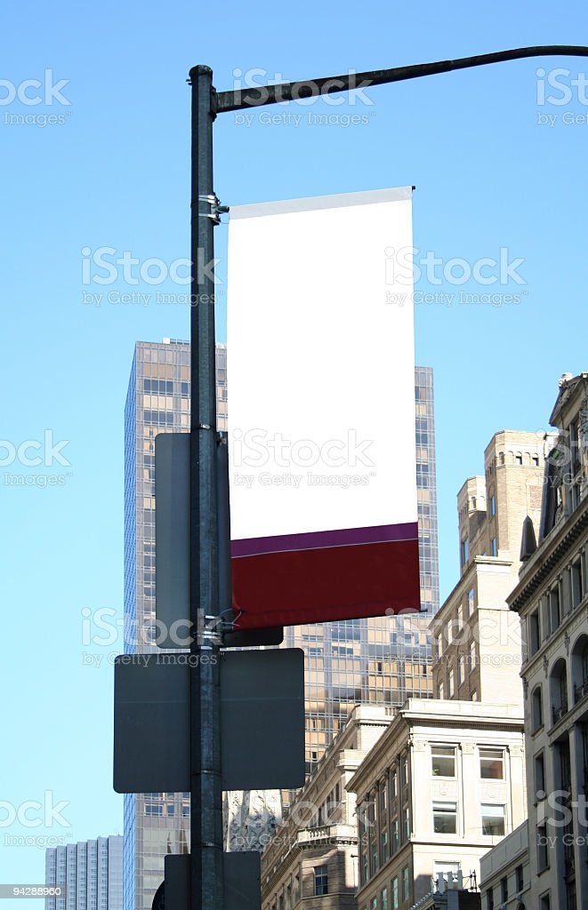 Ad sign (blank) in NYC royalty-free stock photo