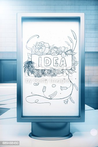 istock Ad stand with idea sketch 689468450